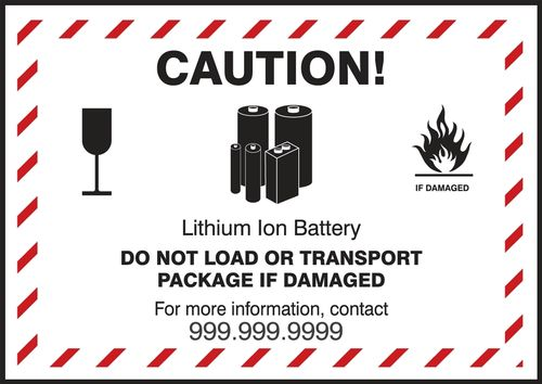 Placard Caution Lithium Ion Battery, 125x115 mm